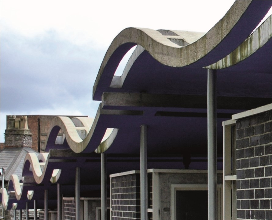 The wavy roofs of the entrance booths at Dudley Zoo.jpg