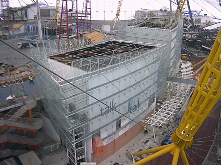 File:Millennium Dome Talk Zone construction.jpg