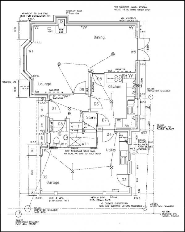 Typical house ground floor plan interior design drafting for Typical house layout