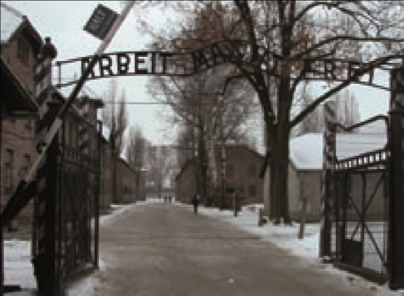 File:The gates of Auschwitz I and the original brick barrack buildings of the first site.jpg